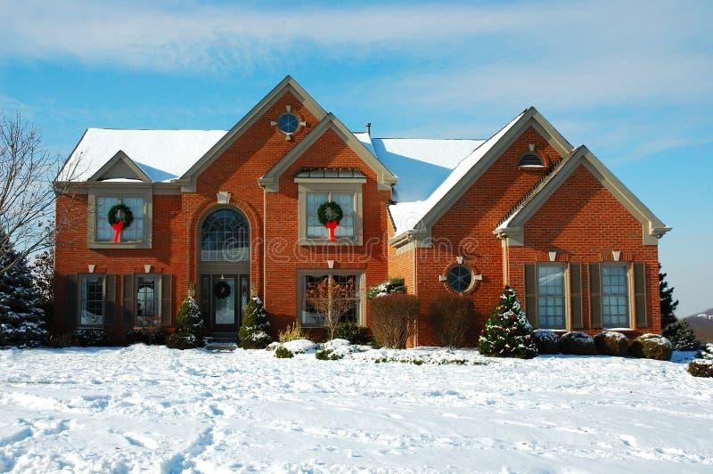 Huis in de Winter stock foto's