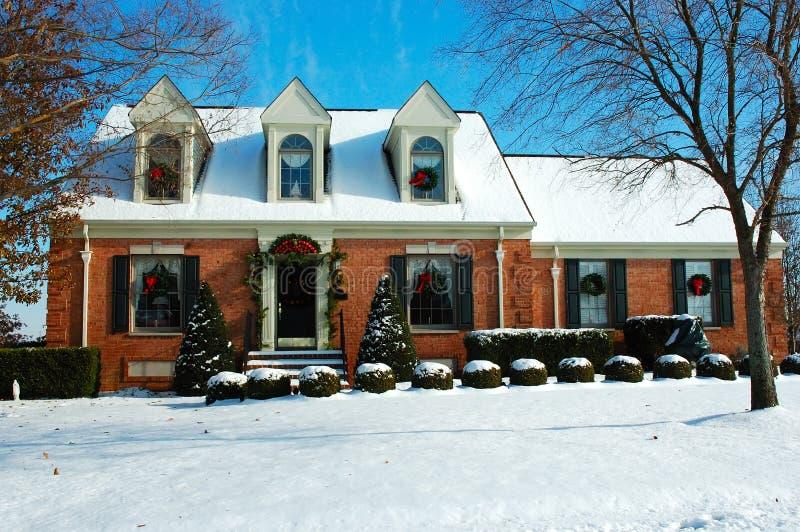 Huis in de Winter royalty-vrije stock foto