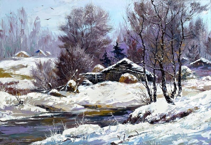 Huis in de winterdorp stock illustratie