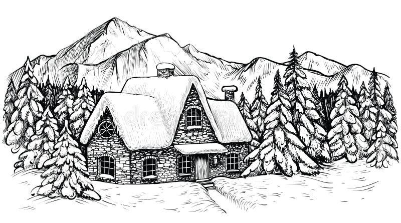 Huis in de wintermountines, met sneeuw wordt en door idyllische landschap dat van spar het bos Vectorkerstmis wordt omringd behan royalty-vrije illustratie