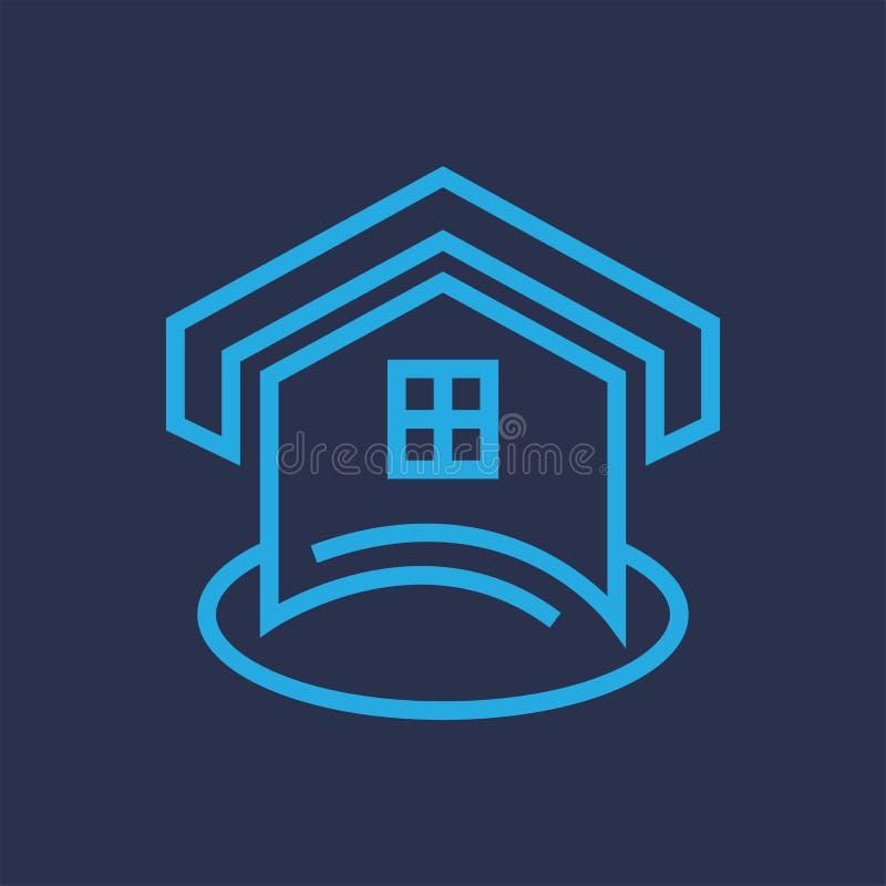 Huis die Logo Line-vector bouwen stock illustratie