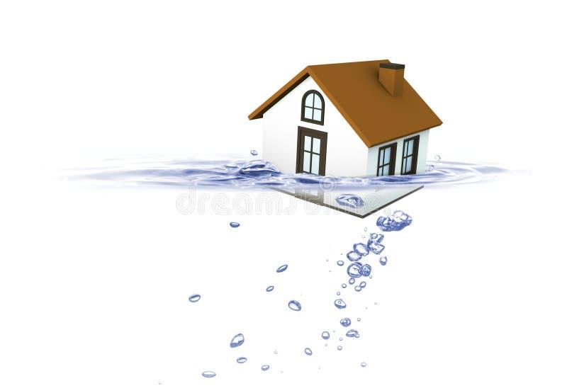Huis die in water, de crisis van de Onroerende goederenhuisvesting dalen stock foto