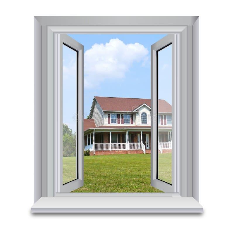 Huis door venster royalty-vrije stock foto