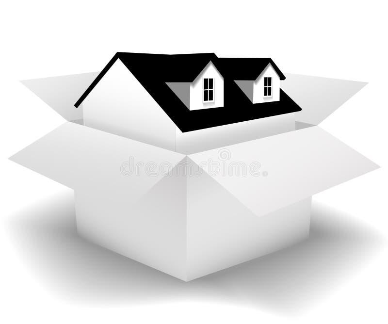 Huis in doos voor verkoop huis in karton vector for Huis aantrekkelijk maken voor verkoop