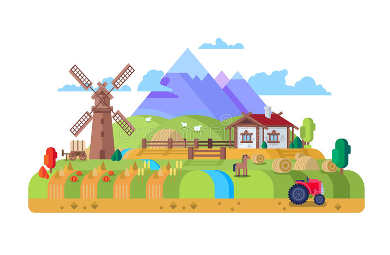 Huis in dorp, landbouwbedrijf stock illustratie