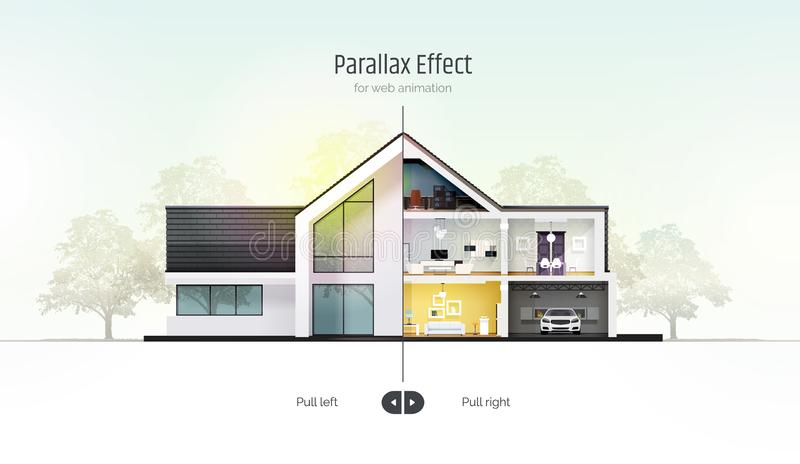 Huis in dwarsdoorsnede Parallax-effect voor webanimatie Buiten de binnenkant van de buitenkant Architecturaal visualiseren stock illustratie