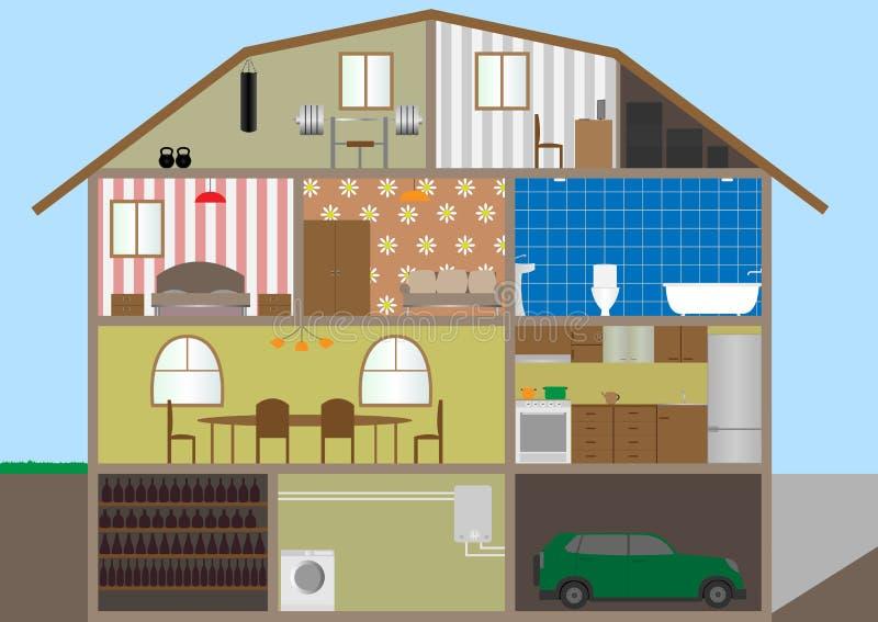 Huis in een besnoeiing. vector illustratie