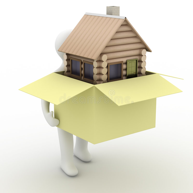 Huis in een gift. 3D beeld. stock illustratie
