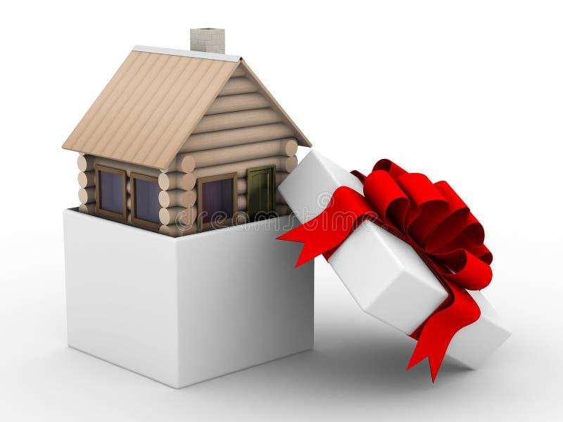 Huis in een giftdoos royalty-vrije illustratie