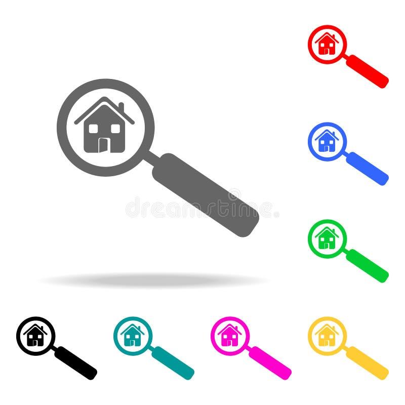 huis in een meer magnifier pictogram Elementen van onroerende goederen in multi gekleurde pictogrammen Grafisch het ontwerppictog royalty-vrije illustratie