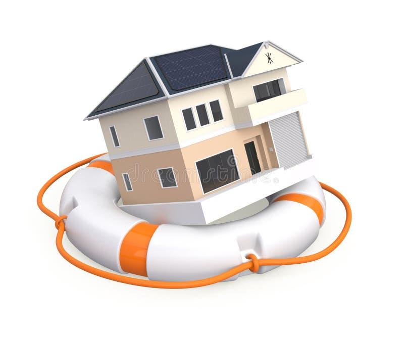 Huis in een reddingsboei vector illustratie
