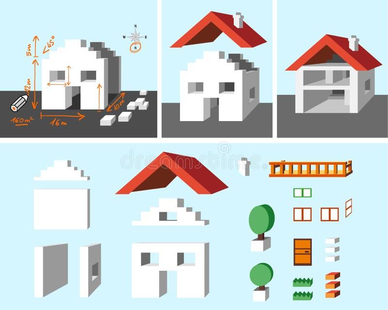 Huis en bouw stock illustratie