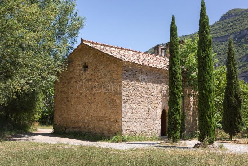 Huis en cipres drie stock afbeeldingen