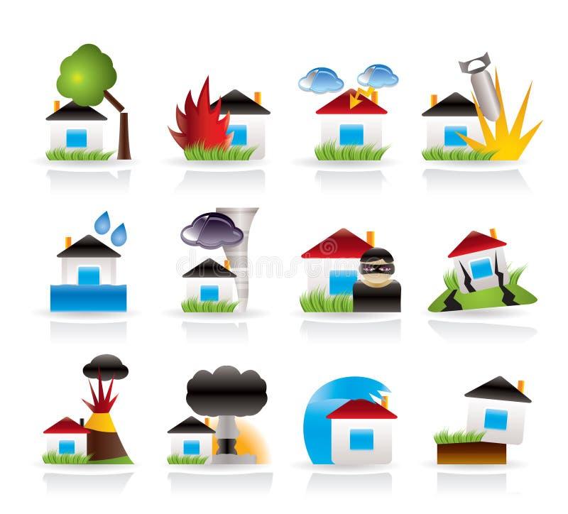 Huis en de pictogrammen van het van de huisverzekering en risico stock illustratie