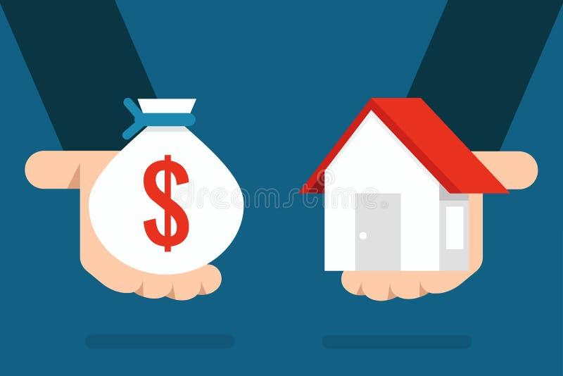 Huis en geld stock illustratie