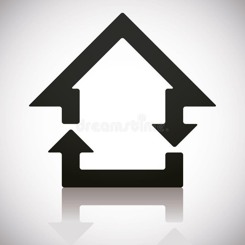 Huis en herladen gecombineerde pictogrammen royalty-vrije illustratie