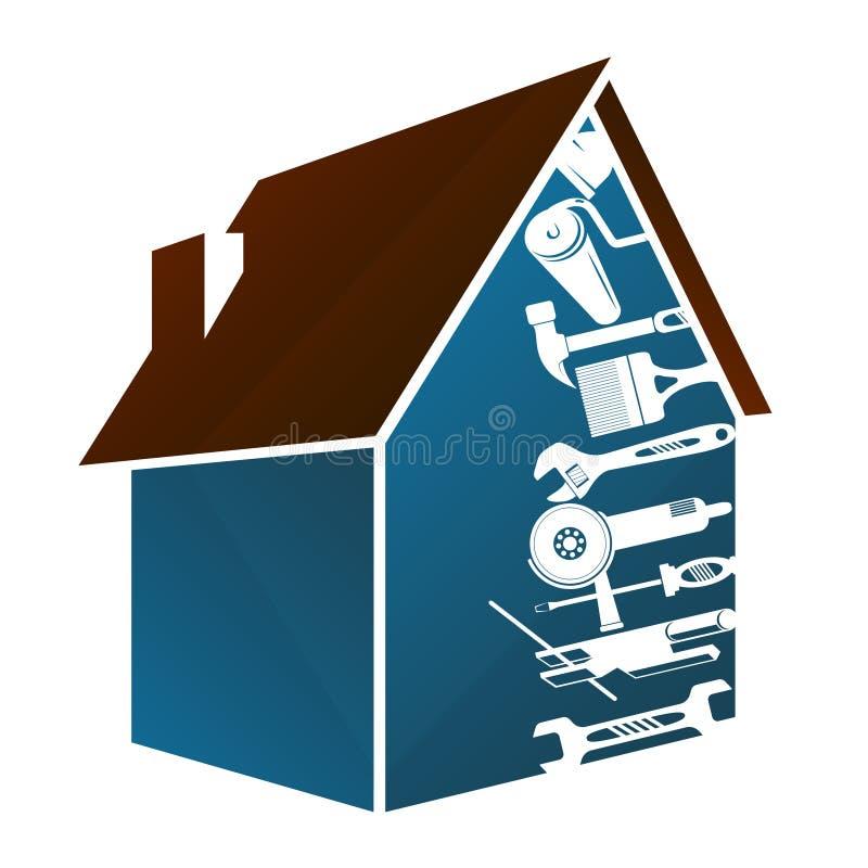 Huis en hulpmiddelenontwerp vector illustratie