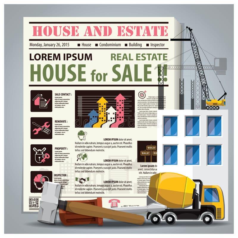 Huis en Landgoed de Krant maakt met Bouwproces op vector illustratie