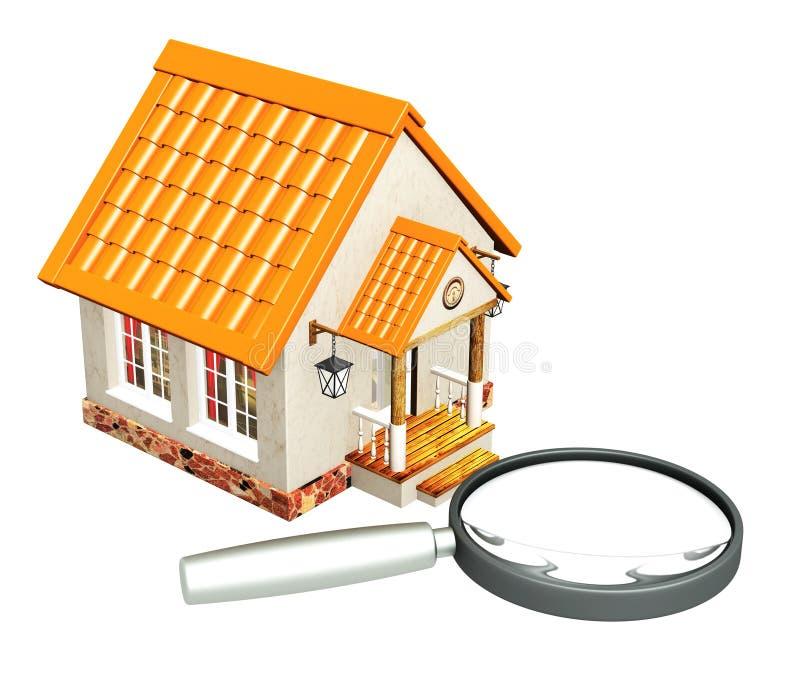 Huis en loupe stock illustratie