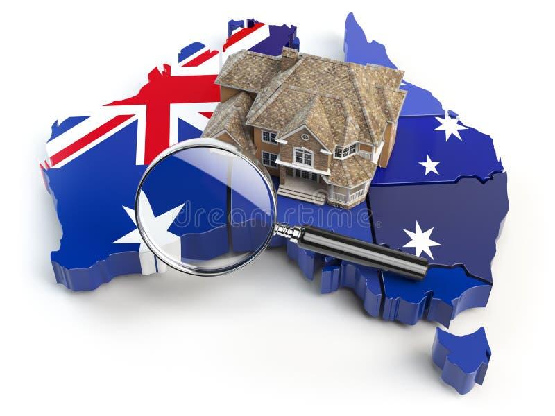 Huis en loupe op de kaart van Australië in kleuren van Australiër stock illustratie