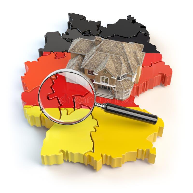 Huis en loupe op de kaart van Duitsland in kleuren van Duitse vlag stock illustratie