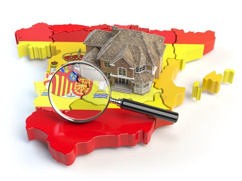 Huis en loupe op de kaart van Spanje in kleuren van Spaanse vlag S vector illustratie