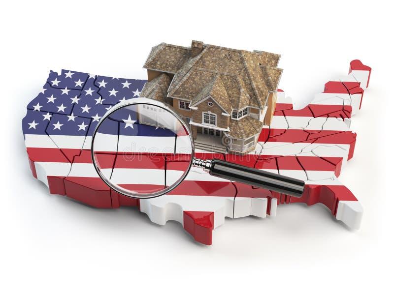 Huis en loupe op de kaart van de V.S. in kleuren van Australische vlag stock illustratie