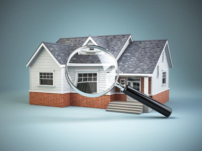 Huis en loupe vergrootglas Onroerende goederen zoekend concept stock illustratie