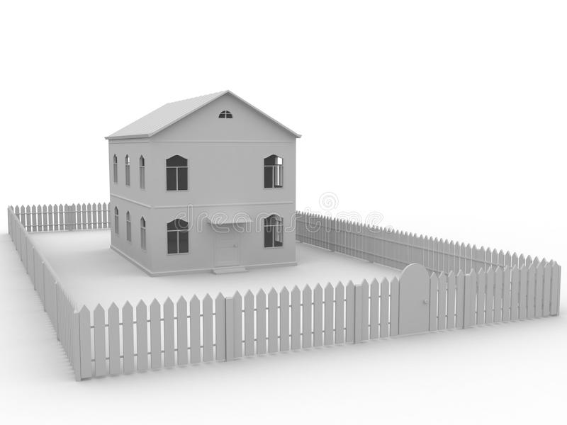 Huis en omheining stock illustratie