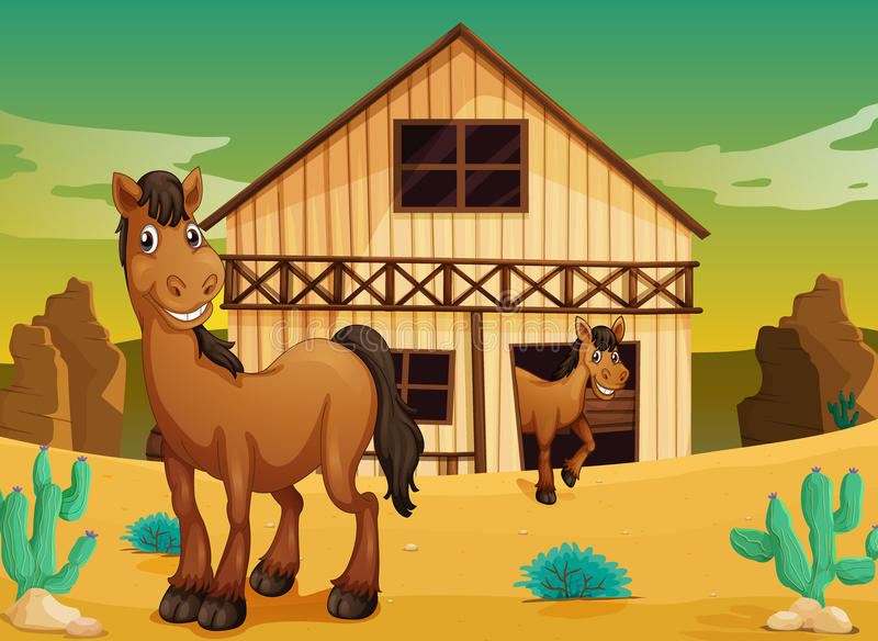 Huis en paarden stock illustratie