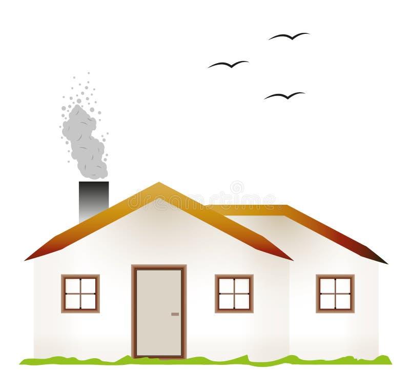 Huis en rokende schoorsteen vector illustratie