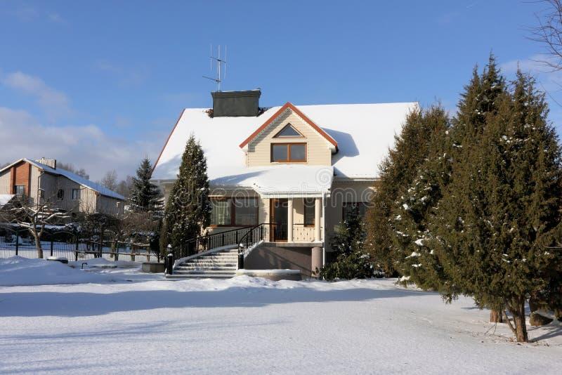 Huis en tuin in sneeuw royalty-vrije stock afbeeldingen