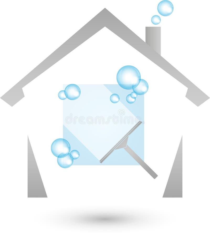 Huis en vensterreinigingsmachine, het schoonmaken en schoonmakend bedrijfembleem vector illustratie