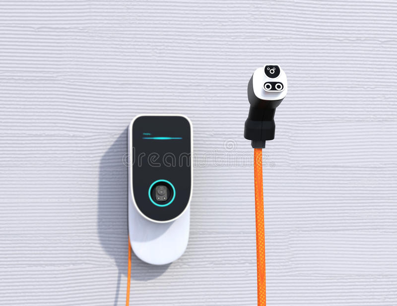 Huis EV het laden post op de muur Voeding voor het elektrische auto laden stock illustratie