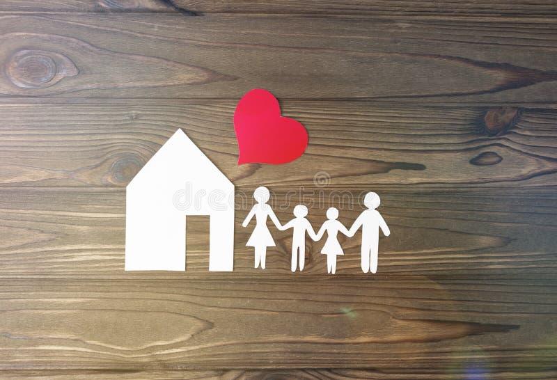 Huis, familie, hart stock fotografie