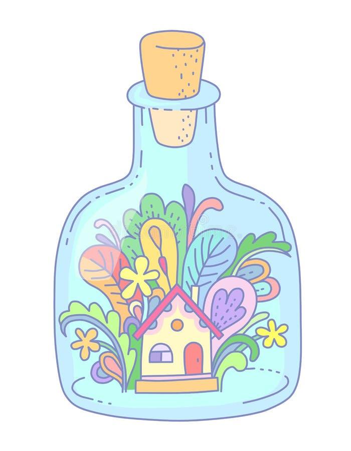 Huis in fles royalty-vrije illustratie