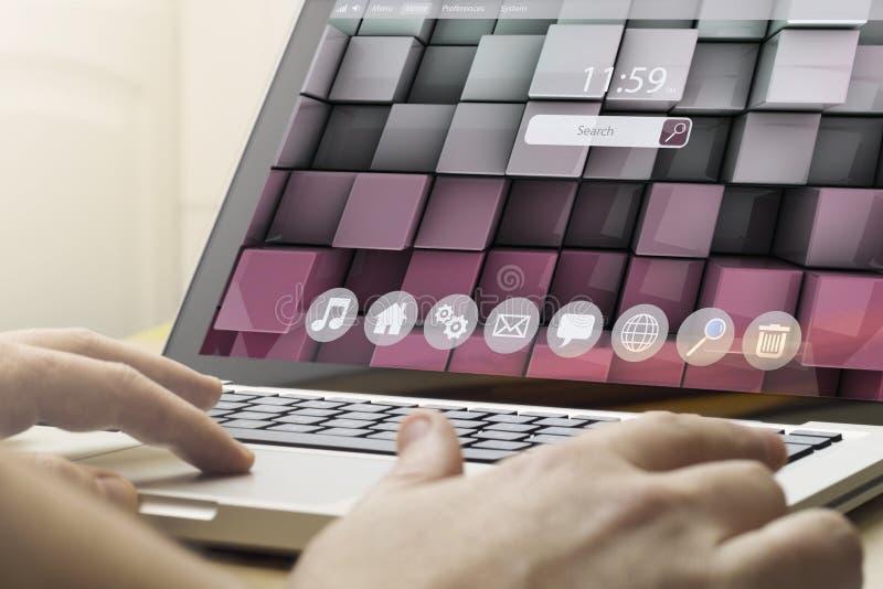 Huis gegevensverwerking stock illustratie