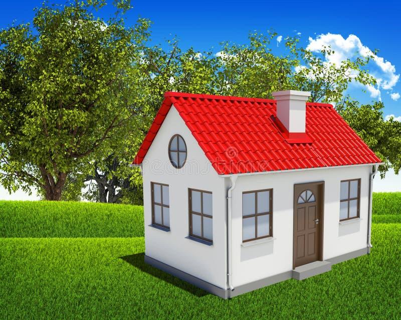 Huis, groen gebied, bos en blauwe hemel stock foto's