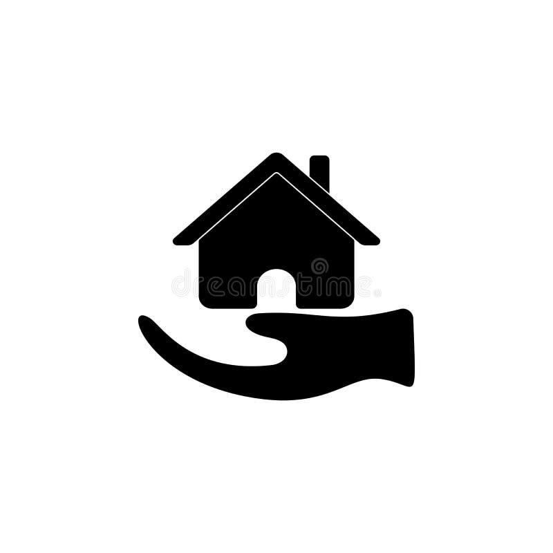 Huis in hand pictogram Elementen van verzekeringspictogram Het grafische ontwerp van de premiekwaliteit Tekens en het pictogram v stock illustratie