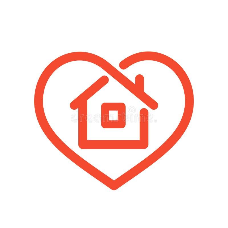Huis in hart stock illustratie