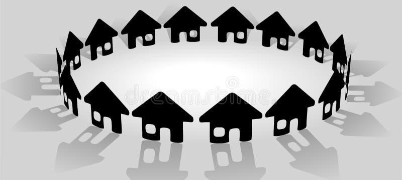 Huis in heldere cirkel van communautaire huizen vector illustratie