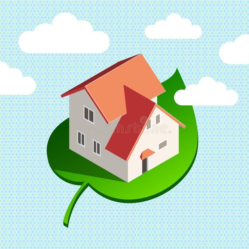 Huis in hemel vector illustratie