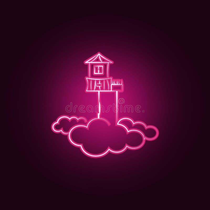 Huis, hemel, wolk, Denkbeeldig neonpictogram Elementen van Denkbeeldige huisreeks Eenvoudig pictogram voor websites, Webontwerp,  royalty-vrije illustratie