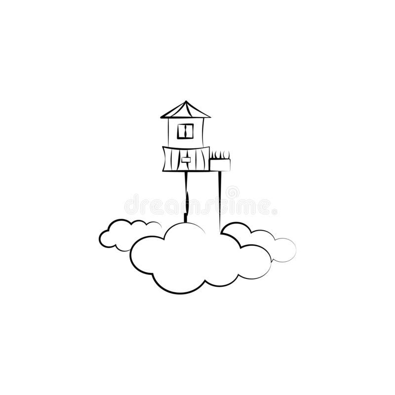 Huis, hemel, wolk, Denkbeeldig pictogram Element van hand getrokken Denkbeeldig huispictogram voor mobiele concept en webtoepassi royalty-vrije illustratie