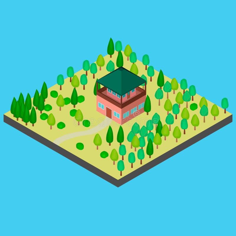 Huis in het bos voor observatie royalty-vrije illustratie