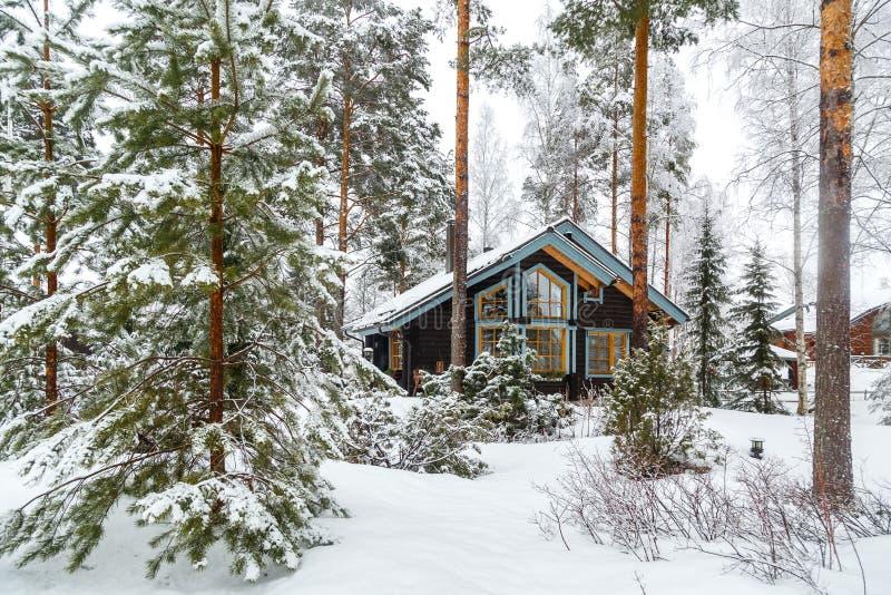 Huis in het de winterbos stock fotografie