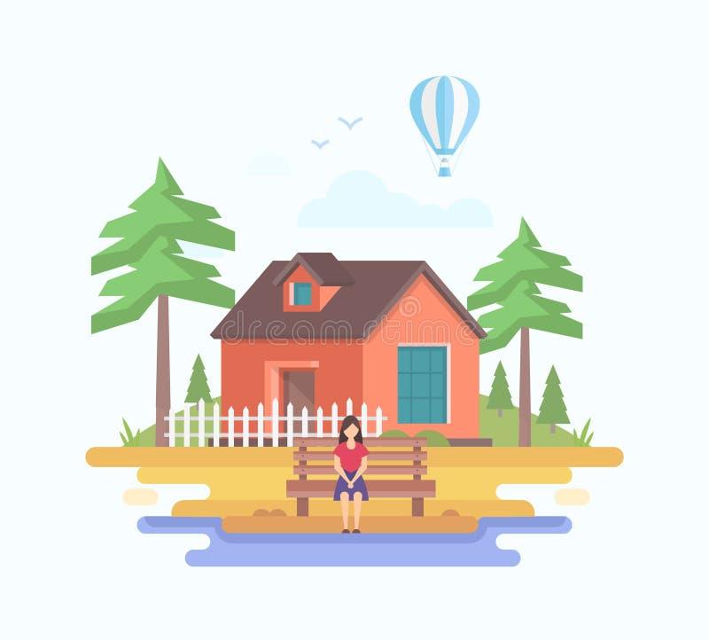 Huis in het dorp - de moderne vlakke vectorillustratie van de ontwerpstijl stock illustratie