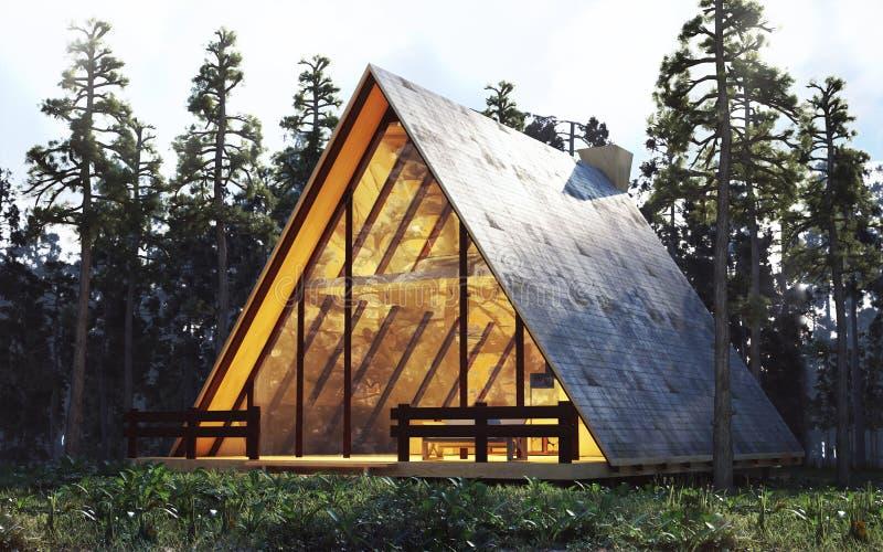 Huis in het hout royalty-vrije illustratie