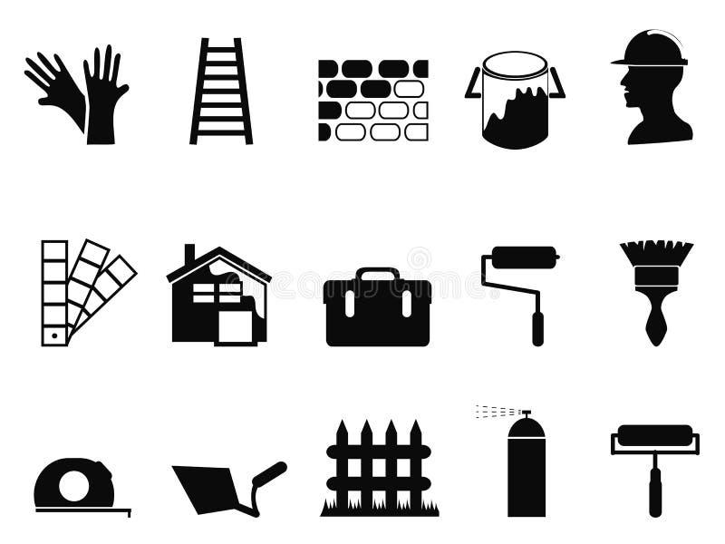Huis het schilderen geplaatste pictogrammen stock illustratie