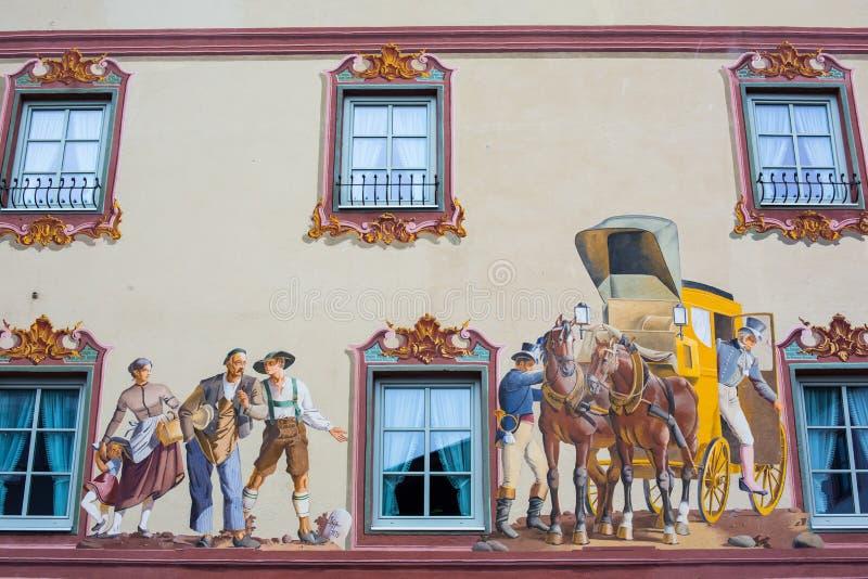 Huis het Schilderen op de Muur - Mittenwald, Duitsland royalty-vrije stock afbeeldingen